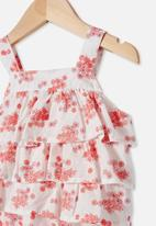Cotton On - Tilly ruffle bubbysuit - vanilla/smoked salmon mini retro floral