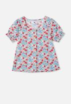 Free by Cotton On - Pippa puff sleeve top - multi
