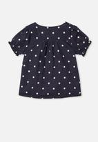 Free by Cotton On - Pippa puff sleeve top - indigo spot