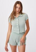 Cotton On - Knit pointelle polo - mint