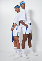 Thebe Magugu extra curricular  x CLD - Thebe Magugu extra curricular x CLD basketball shorts - white