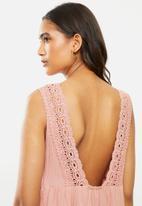 VELVET - Textured cotton blend lace back tiered dress - rose