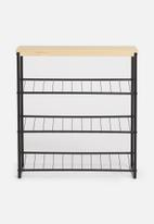 Sixth Floor - Three tier shoe rack - black & natural