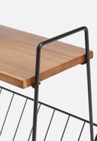 Sixth Floor - Magazine rack side table - black & natural
