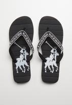 POLO - Owen striped pony flip flop - black