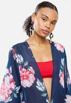 STYLE REPUBLIC - Floral short cover up - navy