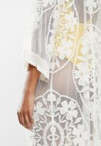 STYLE REPUBLIC - Mesh embroidered maxi cover up - cream