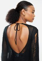 STYLE REPUBLIC - Crotchet open back cover up - black