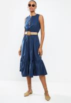 edit - Poplin belted midi dress - navy