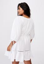 Cotton On - Curve woven cherry smock dress - white