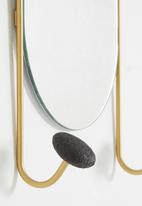 Sixth Floor - Pill shaped mirror with hooks - black & gold