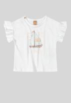 UP Baby - Girls flutter sleeve printed tee - white