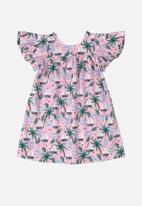 UP Baby - Girls flutter sleeve floral dress - purple/multi