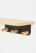 Sixth Floor - Large wall mounted hook shelf - natural & black