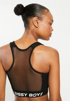 Sissy Boy - Racer back sport bra with mesh inset - black