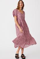 Cotton On - Woven faith babydoll medaxi - mila floral silver pink