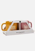 Typo - 2 Pack mug set - pink & orange