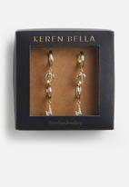 Keren Bella - Leaf and lighting charm hoop pack - gold