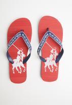 POLO - Owen striped pony flip flop - burgundy