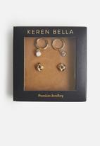 Keren Bella - Knot and charm hoop pack - gold