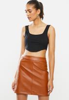 Blake - Knit corset look crop top - black