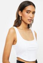 Blake - Knit corset look crop top-white