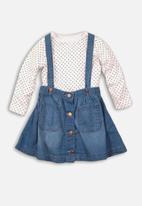 MINOTI - Denim skirt & long sleeve top set - white & blue