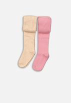 MINOTI - Girls 2 pack tights - pink & white