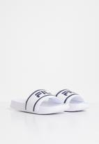 FILA - Deckle stripe slides - white & navy