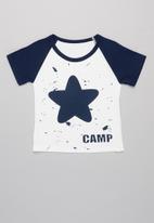 POP CANDY - Boys star tee - white & navy