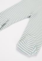 POP CANDY - Baby boys stripe footed  pants - grey & white