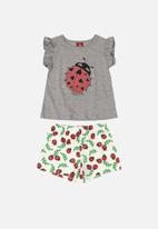 Bee Loop - Ladybug tee & shorts set - grey & white