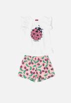 Bee Loop - Ladybug tee & shorts set - white & pink