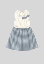 Quimby - Girls stripe pinafor dress - white & navy