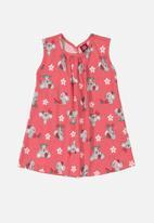 Bee Loop - Girls printed dress - pink & grey