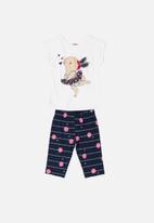 Bee Loop - Girls tee & 3/4 pants - white & navy