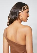 Superbalist - Rib thin strappy one shoulder top - brown