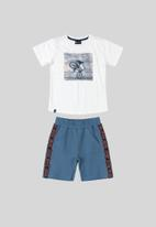 Quimby - Boys t-shirt & sweat shorts set - white/dark blue