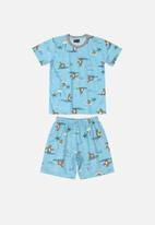 Quimby - Boys t-shirt & shorts pj set - light blue