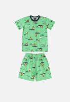 Quimby - Boys t-shirt & shorts pj set - green