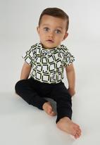 UP Baby - Boys bodysuit, pants & bib set - black & white