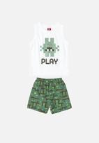 Bee Loop - Boys printed tank top & shorts set - white & green