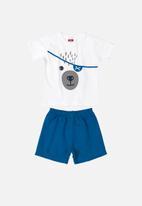 Bee Loop - Boys printed T-shirt & shorts set - white & dark blue