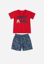 Bee Loop - Boys printed tee & sweat shorts set - red & blue