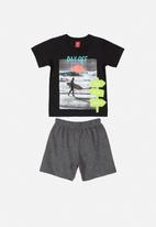Bee Loop - Boys printed tee & sweat shorts set - black & grey