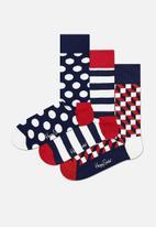 Happy Socks - 3-pack classic navy socks gift set - multi
