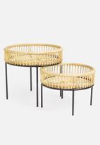 Sixth Floor - Komodo rattan nesting tables - natural & black