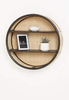Sixth Floor - Bali rattan wall shelf - black & natural