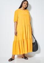 Superbalist - Woven tiered dress - yellow & white