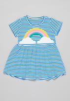 POP CANDY - Girls stripe rainbow dress - blue & white